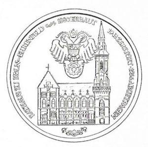 Gedenkmedaille 1979: Stadtrecht für Ehrenfeld vor 100 Jahren. 25 Jahre Bürgervereinigung. (Grafik: Gerhard Wilczek, ©: Bürgervereinigung Köln-Ehrenfeld)
